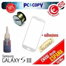 Táctil Samsung Galaxy S3 blanco + adhesivo, hilo molibdeno y disolvente LOCA UV