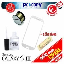 Táctil Samsung Galaxy S3 blanco + adhesivo, hilo molibdeno y disolvente cristal