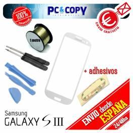 Pack cristal Samsung Galaxy S3 blanco + adhesivo, hilo molibdeno y herramientas