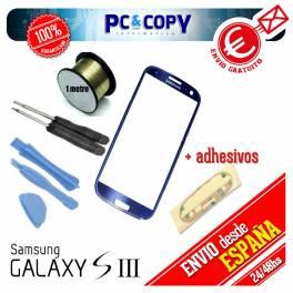 Pack cristal Samsung Galaxy S3 azul + adhesivo, hilo molibdeno y herramientas