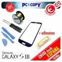 Pack cristal Samsung Galaxy S3 negro + adhesivo, hilo molibdeno y herramientas