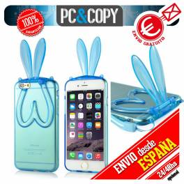 Funda TPU flexible transparente para iphone 6 plus Bunny orejas conejo colores
