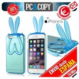 Funda gel TPU flexible transparente para iphone 6. Bunny orejas conejo colores