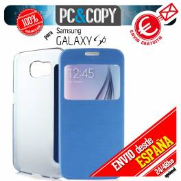FUNDA LIBRO TAPA DURA CON VENTANA PARA GALAXY S6 FLIP COVER BOOK CASE COLORES