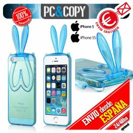 Funda gel TPU flexible transparente para iphone 5. Bunny orejas conejo colores