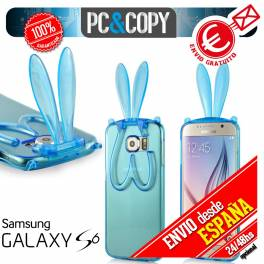 Funda gel TPU flexible transparente para Galaxy S6. Bunny orejas conejo colores