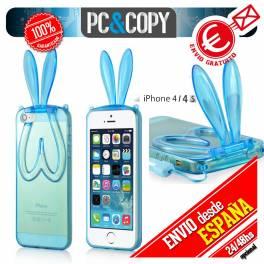 Funda gel TPU flexible transparente para iphone 4 4S. Bunny orejas conejo colores