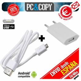 Cargador USB de pared universal para ANDROID movil tablet smartphone blanco 5V 1A