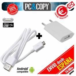 Cargador USB de pared universal para ANDROID movil tablet smartphone blanco 5V 1A