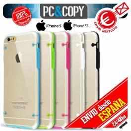 Funda hibrida policarbonato rigida con marco TPU de colores para iphone 5 5S