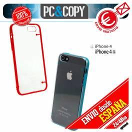 Funda hibrida policarbonato rigida con marco TPU de colores para iphone 4 4S
