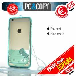 Bumper funda gel TPU flexible transparente para iPhone 6 plus Hello Kitty colores