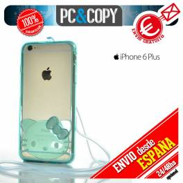 Bumper funda gel TPU flexible transparente para iPhone 6plus Hello Kitty colores