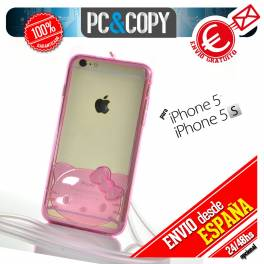 Bumper funda gel TPU flexible transparente para iPhone 5/5S Hello Kitty colores