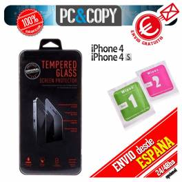 Protector cristal templado iPhone 4 4S calidad PREMIUM 2.5D blister+toallitas