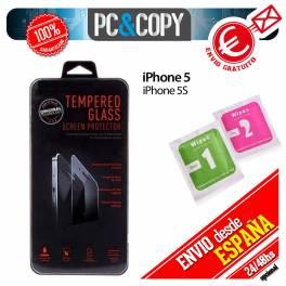 Protector cristal templado iPhone 5 5S calidad PREMIUM 2.5D blister+toallitas