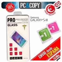 Protector cristal templado para Galaxy S3 calidad PREMIUM 2.5D blister+toallitas