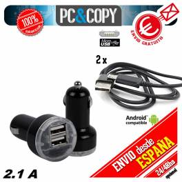 Cargador doble mechero de coche + 2 cables para movil Android 2.1A-1A USB negro