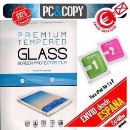 Protector cristal templado iPad Air 1 y 2 calidad PREMIUM en blister + toallitas