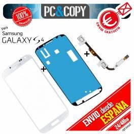 PACK CRISTAL PANTALLA SAMSUNG GALAXY S4 i9500 BLANCO+ADHESIVOS+BOTON FLEX HOME