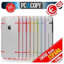Funda hibrida policarbonato rigida con marco TPU de colores para iphone 6plus