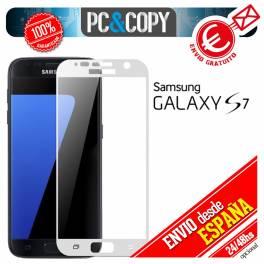 Cristal templado protector pantalla CURVO completo blanco Galaxy S7 G930F