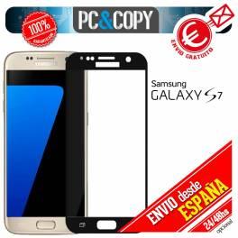 Cristal templado protector pantalla CURVO completo negro Galaxy S7 G930F