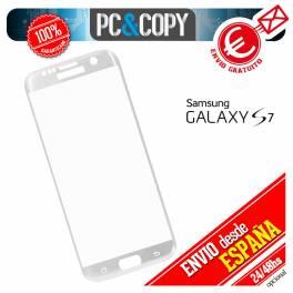 Cristal templado protector pantalla CURVO completo plata Galaxy S7 G930F
