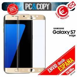Cristal templado CURVO dorado pantalla Samsung Galaxy S7 edge 9H 3D SM-G935F A++