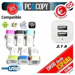 Cargador doble mechero coche movil tablet 2.1A-1A USB blanco y negro 12-24v A++