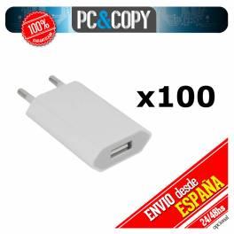 Caja 100 cargadores corriente USB pared universal movil smartphone blanco 5V 1A