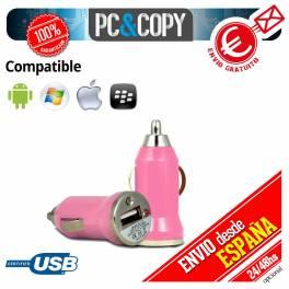 Pack 10 cargadores mechero coche USB 1A para movil tablet rosa car 12-24v 1000mA