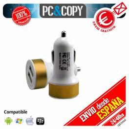 Pack 5 cargadores USB coche doble movil tablet 2.1A dual dorado 12-24v redondo
