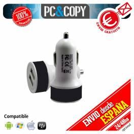 Pack 5 cargadores USB coche doble movil tablet 2.1A dual negro 12-24v redondo
