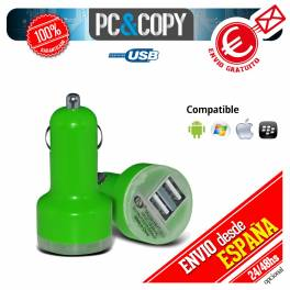 Pack 10 cargadores dual mechero coche para movil 2.1A-1A doble USB verde 12-24v