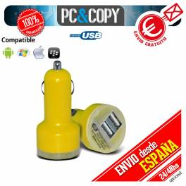 Pack 10 cargadores dual mechero coche para movil 2.1A-1A doble USB amarillo 12-24v