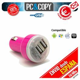 Pack 10 cargadores dual mechero coche para movil 2.1A-1A doble USB fucsia 12-24v