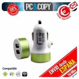 Pack 10 cargadores USB coche doble movil tablet 2.1A dual verde 12-24v redondo