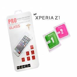 Protector cristal templado Sony Xperia Z1 calidad PREMIUM 2.5D blister+toallitas