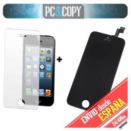 Pantalla LCD RETINA+Tactil completo para iPhone 5S NEGRO con cristal templado A+