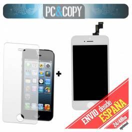 Pantalla LCD RETINA+Tactil completo para iPhone 5S Blanco con cristal templado