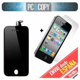 Pantalla LCD+Tactil completa para iPhone 4 negra con Cristal Templado AAA+