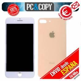 Pantalla completa LCD Blanca + Tapa bateria Oro iPhone 8 Plus 5,5 Calidad A++