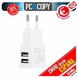 Cargador para Movil 2A BLANCO 2 puertos USB pared carga rapida UNIVERSAL SMARTPHONE