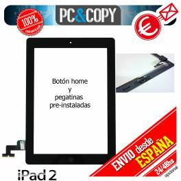 PANTALLA TACTIL IPAD 2 NEGRA ADHESIVO Y BOTON HOME INSTALADO DIGITALIZADOR GEN CRISTAL TOUCH SCREEN iPad2