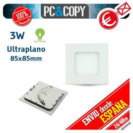 Downlight Panel LED 3W Techo Luz Blanca Cuadrada Fina Empotrable