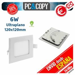Downlight Panel LED 6W Techo Luz Blanca Cuadrada Fina Empotrable