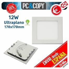 Downlight Panel LED 12W Techo Luz Blanca Cuadrada Fina Empotrable