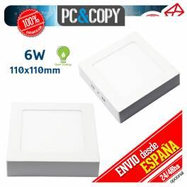 Plafon Techo Panel LED Superficie 6W Luz Blanca Cuadrado 110mm Downlight