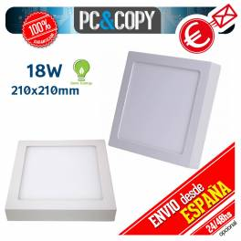Plafon Techo Panel LED Superficie 18W Luz Blanca Cuadrado 210mm Downlight